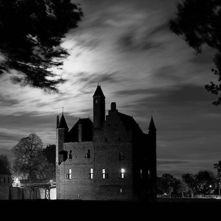 Foto Kasteel Doornenburg by night (B&W) van Onno Z